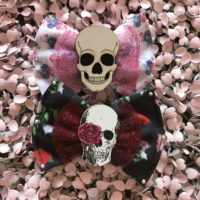 Rose Skull Hair Bow